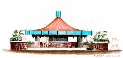 """<h5>Loja de livros e cadernos -""""Cometa""""</h5><p>Projecto concebido para ser uma loja de livros à frente da embaixada de Portugal na Praia-Cabo Verde, mais tarde construído entre prédios habitacionais e transformado em restaurante.</p>"""