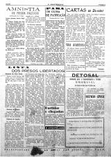 """<h5>Página interior do Jornal colonial """"O Arquipélago""""</h5><p>Página interior do jornal colonial de Cabo Verde anuciando a libertação dos presos políticos de Tarrafal</p>"""