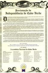 <h5>Documento da Proclamação da Indepêndencia Nacional</h5><p>Pedro Martins, entre os cinquenta e seis deputados da Assemblia Nacional, que proclamaram a Independência  Nacional de Cabo Verde no dia 5 de Julho de 1975.</p>