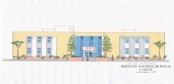 <h5>Projecto do Instituto Nacional de Pescas</h5><p>Desenho da fachada do Institituto Nacional de Pescas em S. Vicente.</p>