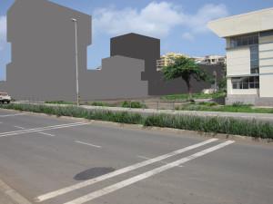 1B-Vista da retunda da Várzea com o edifício proposto